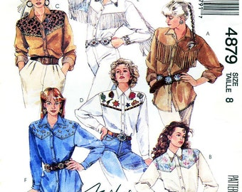 Sz 8 - McCalls Shirt Pattern 4879 - Misses' Western Shirt in 6 Variations