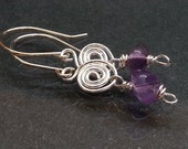 Silver Spiral and Amethyst Chakra earrings