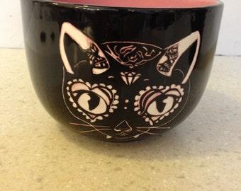 Soup mug dark kitty