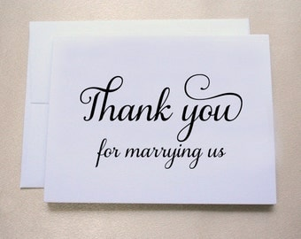 Thank you for marrying us / Thank you card to officiant / Wedding Day Card / Shimmer Cardstock