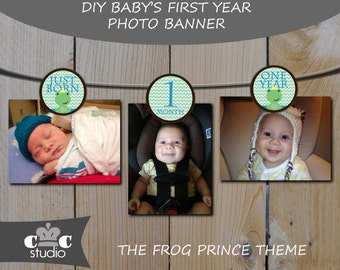 Baby's First Year Birthday Banner - 0-12 Months Little Frog Prince Photo Banner/Holder - Instant Digital PDF Download