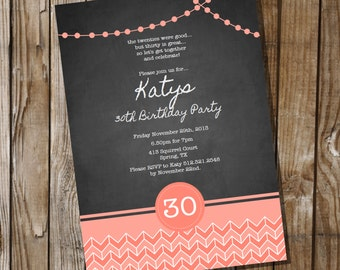 Chalkboard Birthday Invitation with Coral - 16th 30th 40th 50th 60th birthday invitation - Instant Download and Edit with Adobe Reader