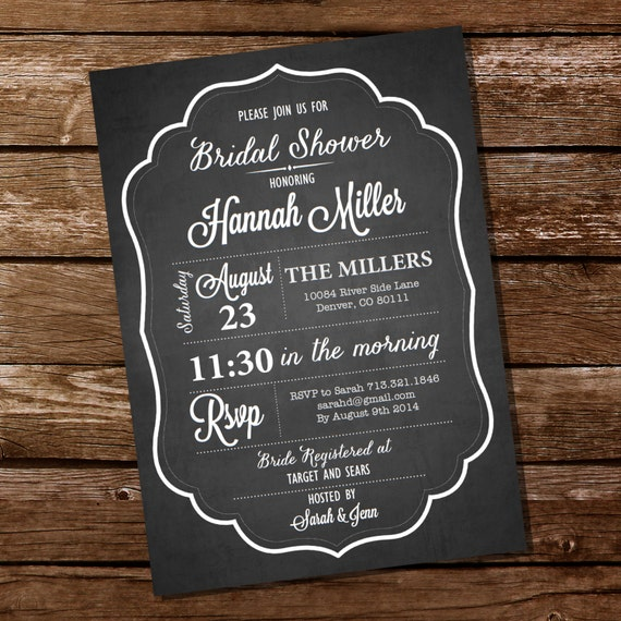Chalkboard bridal shower invitation bachelorette invitation il570xn filmwisefo