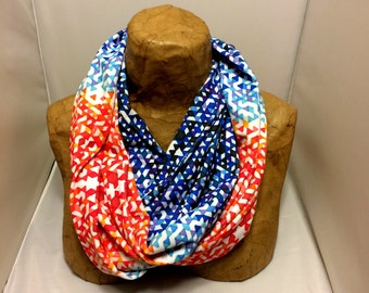 Colorful Knit Scarf - Venice Beach Funfetti Sunset Chunky Infinity Scarf, Jersey Circle Scarf, Loop Scarf, Eternity Scarf