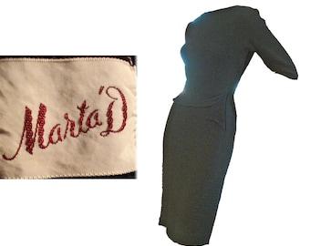 Party Dress Vintage 50s Wiggle Dress Black Cotton Dress