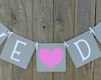 We Do Banner, Wedding Banner, Orchid Heart, Wedding Decor, Garland, Sign, Wedding Reception, Photo Prop