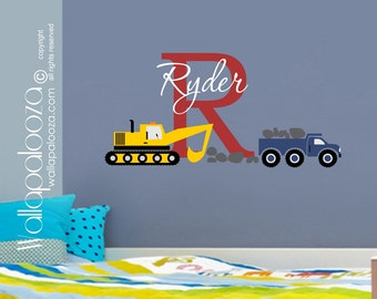 Construction Wall Decal - Nursery Wall Decal - Boys Room Wall Decal - Construction decal - Truck wall decal - truck wall decor - Wall Decal