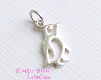 Sterling Silver Little Penguin Charm -- 1 Piece... Bird Pendant