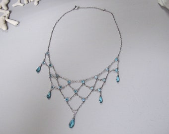 French Antique Blue Paste Glass Necklace Silver 800/925