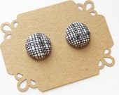 Fabric Button Earring Stud - Black and White Line Button Earrings - Hypoallergenic Earrings