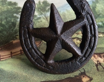 Rustic Western Cast Iron Star Horseshoe Drawer Knob Pull