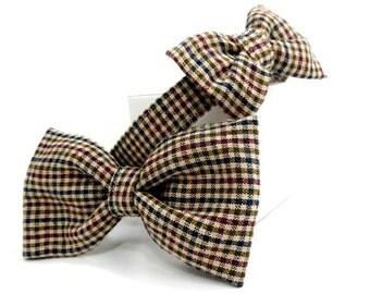 Beige Plaid Dog Bowtie Collar, Dog Collar and Bowtie