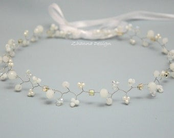 Bridal Pearls Crown,Crystals Bridal Tiara,Pearls Headpiece,Hair Accessories,Wedding Headband,Bridal Crown,White Pearl Wreath by CyShell