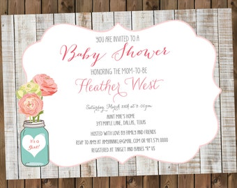 Rustic Baby Shower Invitation Mason Jars and Flowers _1173