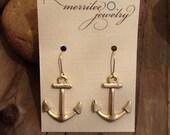 Satin Gold Anchor Earrings