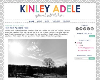 Blogger Template Premade Blog Design Theme - Kinley Adele - INSTALLATION INCLUDED - Responsive, Teacher Blog, Simple, Colorful, Quatrefoil