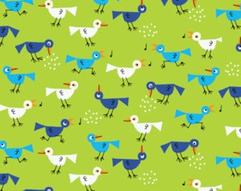 SALE! 1/4m Happy Drawing Birds in Green - Organic Cotton - Cloud 9 Fabrics