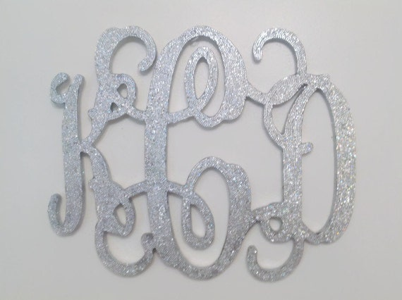 Wall Decor With Rhinestone : Inch rhinestone monogram silver bling decorative wall