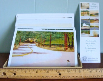 "Peaceful country scene. Set of nine 5 x 7"" note cards includes white envelopes and a book mark from the ""Quiet Interference"" artwork series."