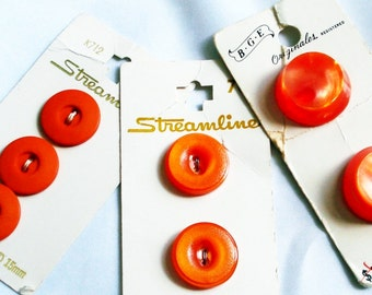 Tangerine Vintage Buttons on Cards, 3 cards different sizes, Orange Buttons