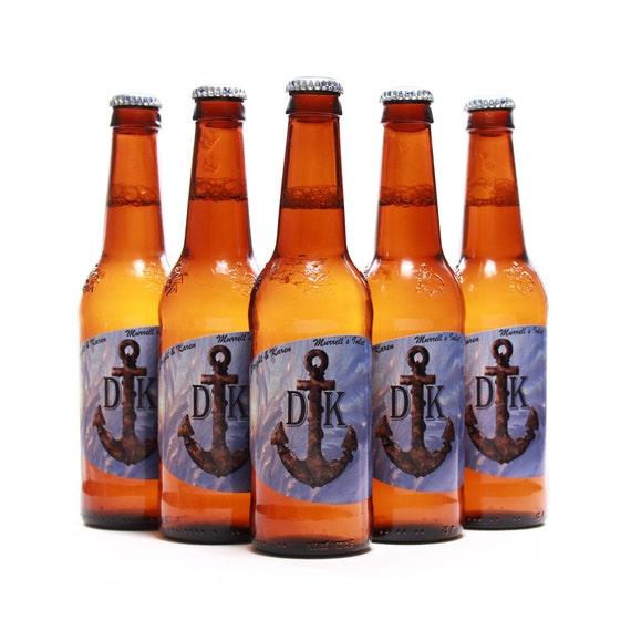 Custom Beer Bottle Labels Personalized Wedding By: Nautical Wedding Beer Bottle Labels Custom Anchor Blue