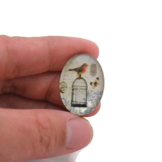 Bird Glass Cabochon - 25mm x 18mm