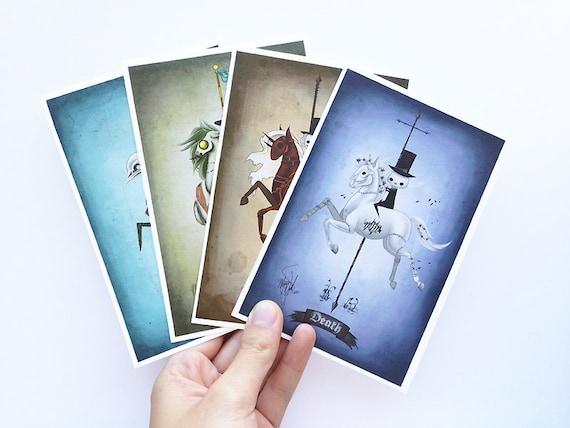 4x6 archival print set, Four Horsemen of the Apocalypse art, Pestilence, Famine, War, Death, carousel art, creepy carousel horses