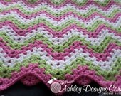 Crochet Pattern Chevron Blanket - PDF - Instant Digital Download