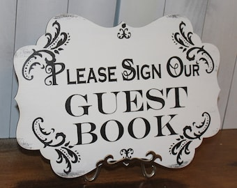Wedding Sign Guest Book Sign/Please Sign Our Guest Book/Great Shower Gift/Black/White