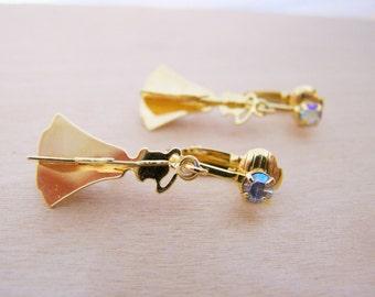 Vintage Designer Avon Aurora Borealis Gold Tone Angel Clip On Earrings / Gift for Her / L250