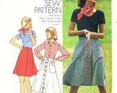Simplicity 6778 Misses' Front Button Skirt With Shaped Pockets Sewing Pattern Sz 16