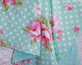 """29x29"""" Hard to Find  Roses and Mums in Teal Aqua Vintage Style 100% Cotton with Aqua Minky Dimple Dot Blanket Ready to Ship"""