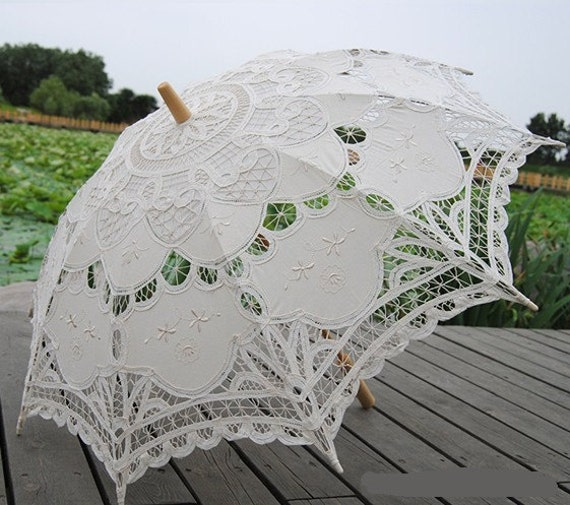 Ivory Old Fashion  Battenburg Lace Umbrella Wedding Bridal Parasol