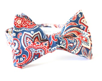 Paisley Bow Tie Red White And Blue /Mens Bow Ties/Blue Paisley /Gifts for Men/Christmas/holiday/accessories