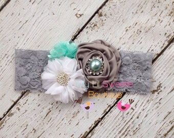 New gray aqua white trio - Vintage style headband-  wedding headband - adult headband- teen headband- toddler headband