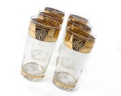 Etched and Gilded Gold Band Glasses
