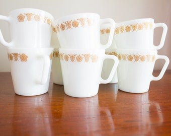 Pyrex Coffee Cups Butterfly Gold