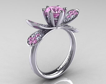14K White Gold 1.0 Ct Light Pink Sapphire Diamond Nature Inspired Engagement Ring Wedding Ring R671-14KWGDLPS