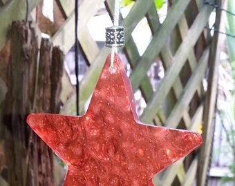 Star Melted Bead Suncatcher Upcycled Window Dangle Garden Art with Aztec Sun Charm