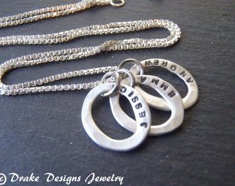 Sterling silver Kids name Necklace custom hand stamped mom jewelry
