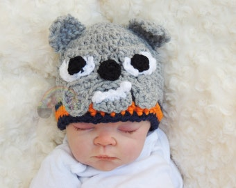 Baby Crochet Bulldog Newborn Prop Hat