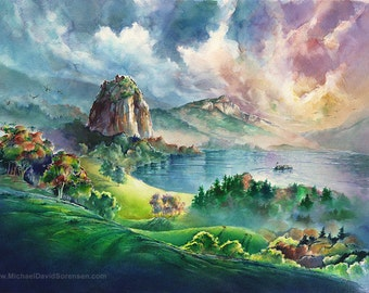 Columbia River Gorge at Beacon Rock Landscape Watercolor Painting Print by Michael David Sorensen. Pacific Northwest Artwork-Limited Edition