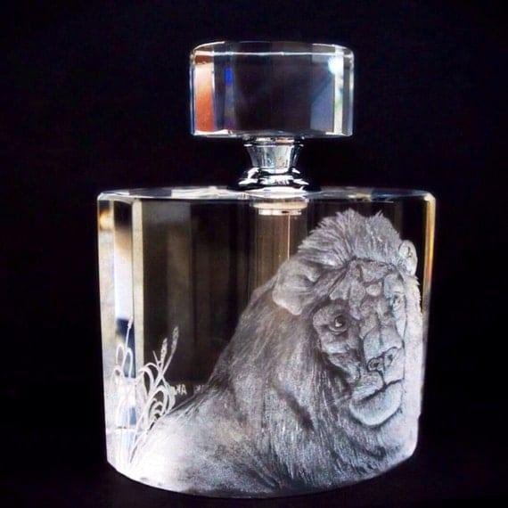 Art Deco Perfume Bottle Hand engraved Lion
