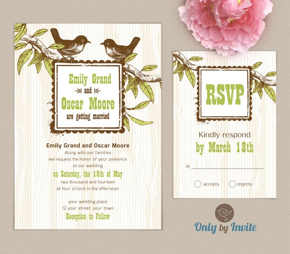 Rhode Island Wedding Invitation Printed: Rustic Forest Wedding Invitations And RSVP Cards By