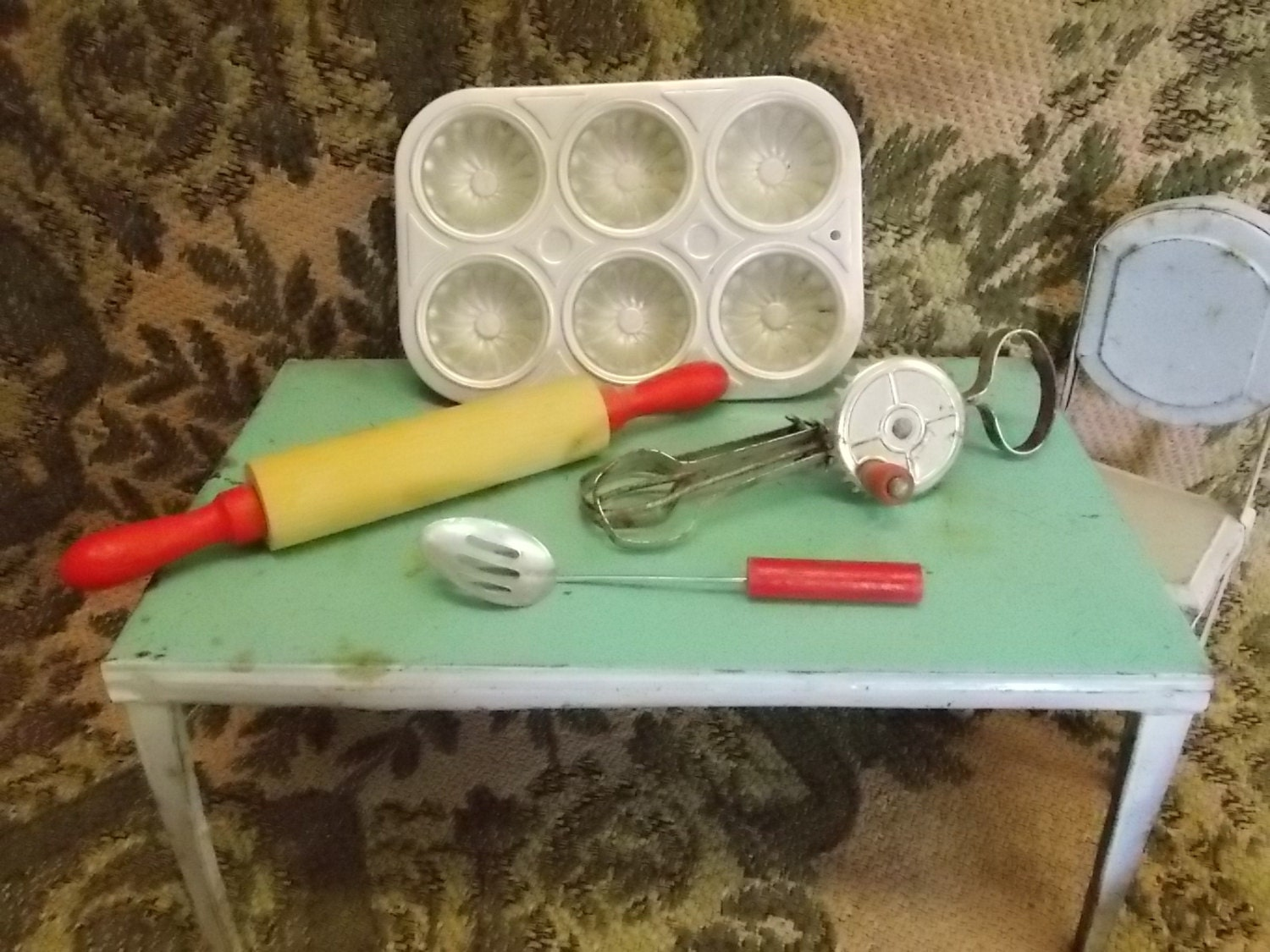 Toy Hand Mixer ~ Vintage toys egg beater hand mixer slotted spoon muffin tin