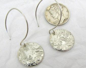 """Silver Disc Earrings 5/8"""""""",  Patterned Fine Silver Earrings, .999FS Patterned Silver, Rustic Silver Earrings"""