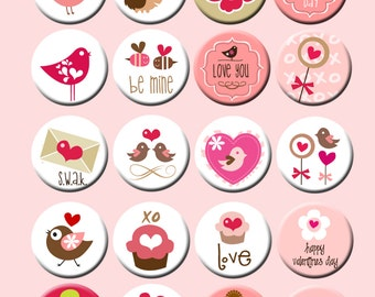 Country Charm Valentine Pin Back Button Party Favors  1.25 inch Buttons set of 20 Valentines Day