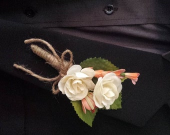 Wedding Boutonniere (Boutineer) - White (Ivory) Roses with Coral Wild Flowers Wrapped in Burlap