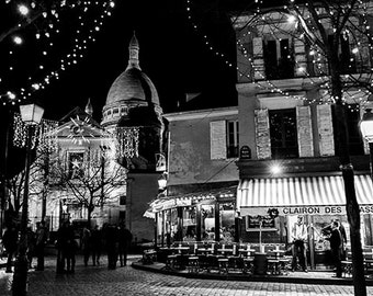 Montmartre Paris black and white photography, paris christmas decor, Paris decor, gift idea paris large wall art 8x10