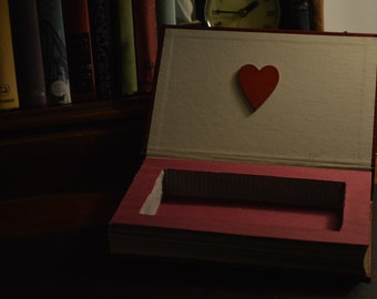 Handmade hollow book box safe with heart detail on inside cover